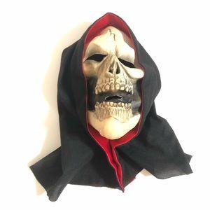 90's Vintage Hooded Skeleton Latex Halloween Mask
